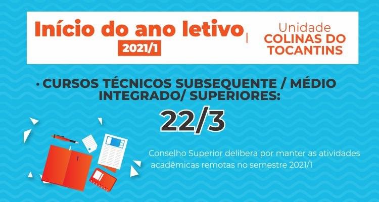 Aulas 2021 - unidade Colinas do Tocantins