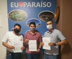 À esquerda, professor Gilvânio, ao centro, Prefeito eleito de Paraíso do Tocantins, Celso Morais, e à direita, o diretor-geral do Campus Paraíso, Flávio Eliziário.