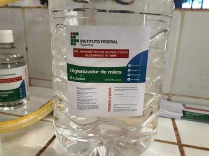 Álcool em gel produzido pelo IFTO