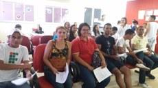 Estudantes aguardando a triagem no Hemocentro de Palmas