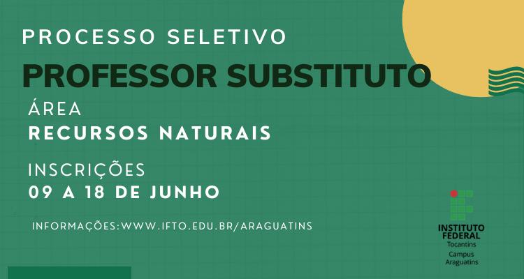 IFTO contrata professor substituto da área de recursos naturais