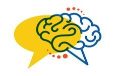 Pra cego ver: ícones representativos de diálogo e cérebro. Fim da descrição.