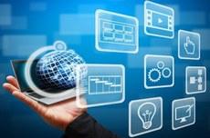 Pra cego ver: uma mão segurando um símbolo representativo do globo terrestre e ao lado contém vários ícones que representam mão, lâmpada, telas de computador, gráficos, engrenagem. Fim da descrição.
