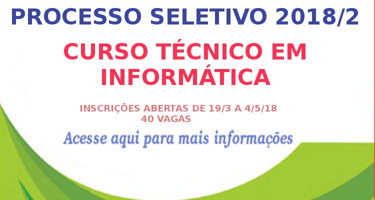 Técnico em Informática com inscrições abertas até 4 de maio